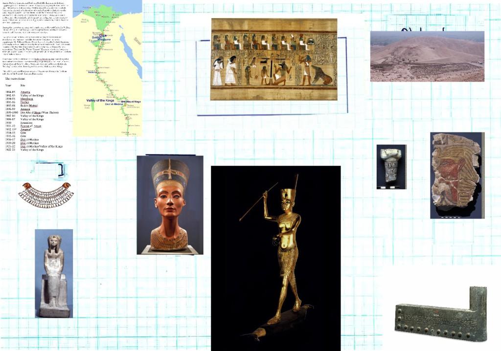The Peabody-Emerson Excavations Virtual Exhibit (Display case sketch, 2.6 meters wide, 1.8 meters tall)