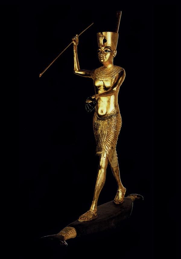 Gilded Wooden Figure of Tutankhamun on a Skiff, Throwing a Harpoon